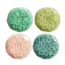 ceramic dish round ice break plates snacks salad plates Creative fruit dessert dishes home decor 3D relief lotus dishes 16.5cm