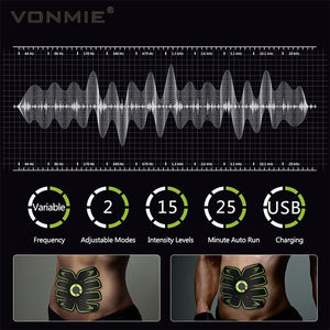 Image 3 - VONMIE Electro Estimulador Muscular S5C06 Abdomen Vibrating Slimming Belt Cellulite Tens USB Rechargable Machine EMS Trainer