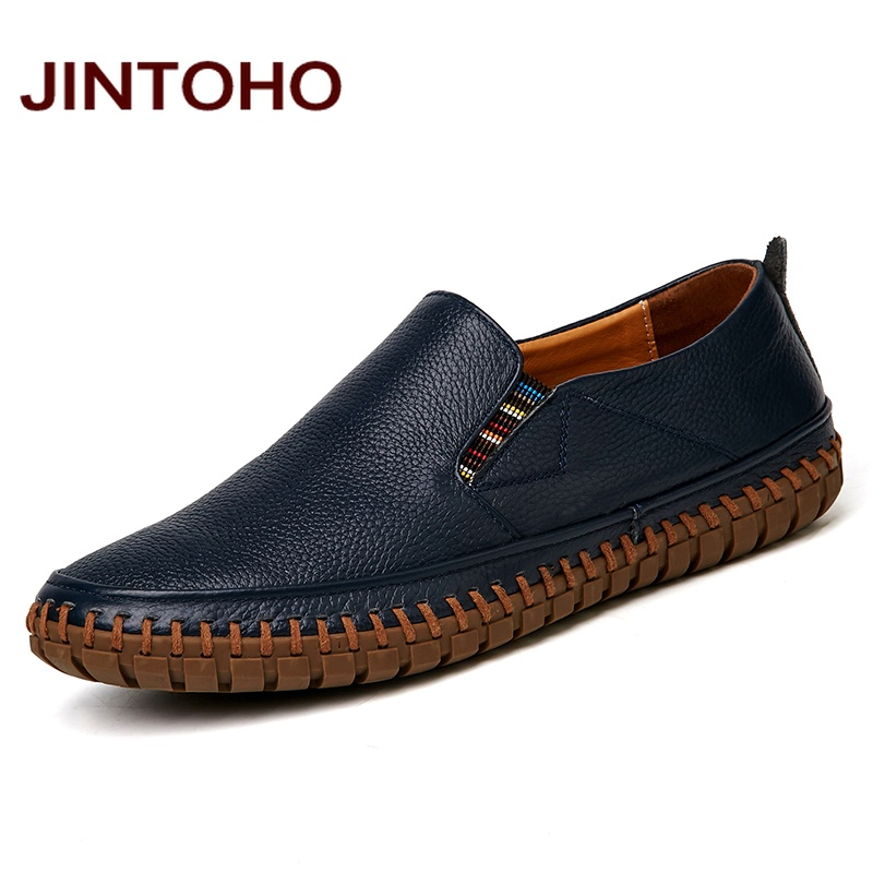 JINTOHO Big Size Men Genuine Leather Shoes Slip On Black Shoes Real Leather Loafers Mens Moccasins Shoes Italian Designer Shoes title=