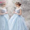Простой Светло-Голубой Свадебные Платья 2016 Тюль Золушка Платье Романтические Свадебные Платья халат де mariée принцесса Платья Z171