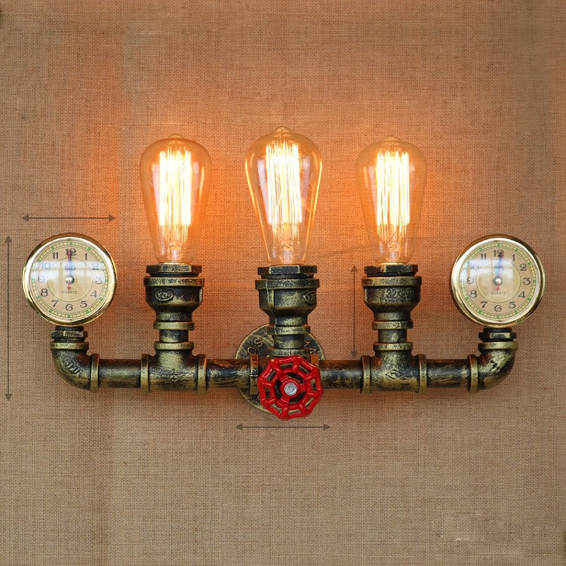 Creative Water Pipe Vintage Wall Lamp Light LED Edison Retro Loft Style Industrial Wall Sconce Fixtures Arandela Lampara Pared loft style iron edison wall sconce industrial lamp wheels vintage wall light fixtures antique indoor lighting lampara pared