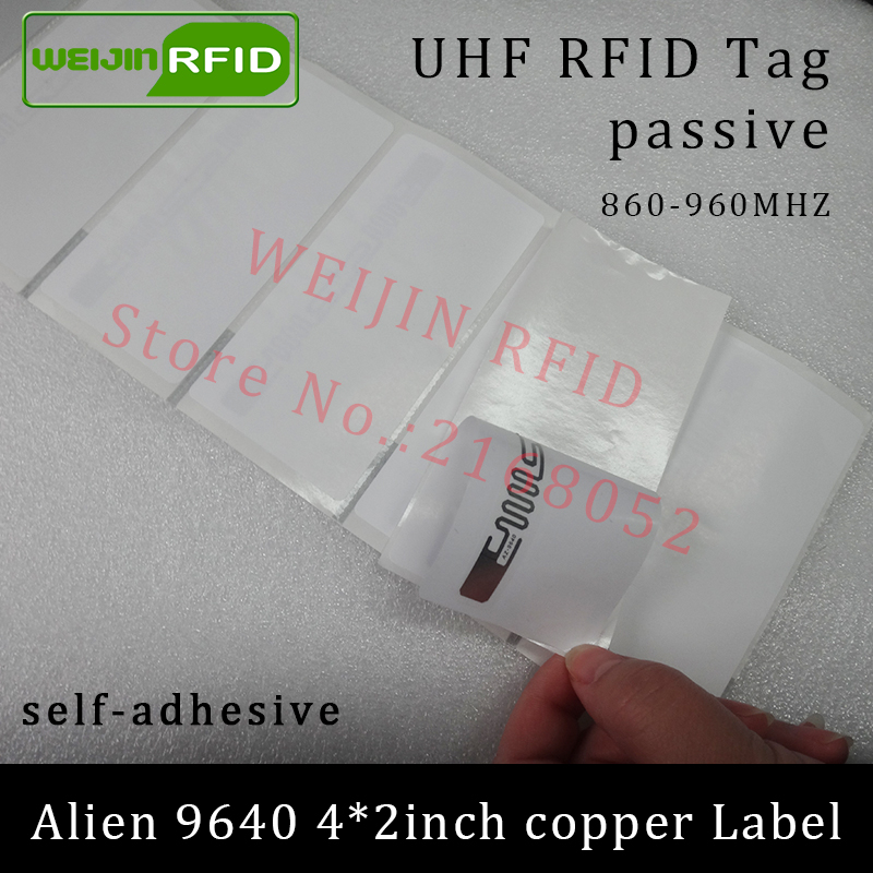 860-960MHZ UHF RFID tag sticker Alien 9640 printable copper label 915mhz Higgs3 EPCC1G2 6Csmart adhesive passive RFID tags label rfid tire patch tag label long range surface adhesive paste rubber alien h3 uhf tire tag for vehicle access control