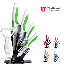 Kitchen Paring knives 3456 inch Quality Knife Ceramic Knife Sets with Stand Timhome Brand chef knives kitchen tools