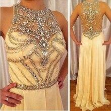 Stunning shiny champagner Strass Prom dresses Perlen Chiffon A-linie Abendkleider Kleid bodenlangen vestidos