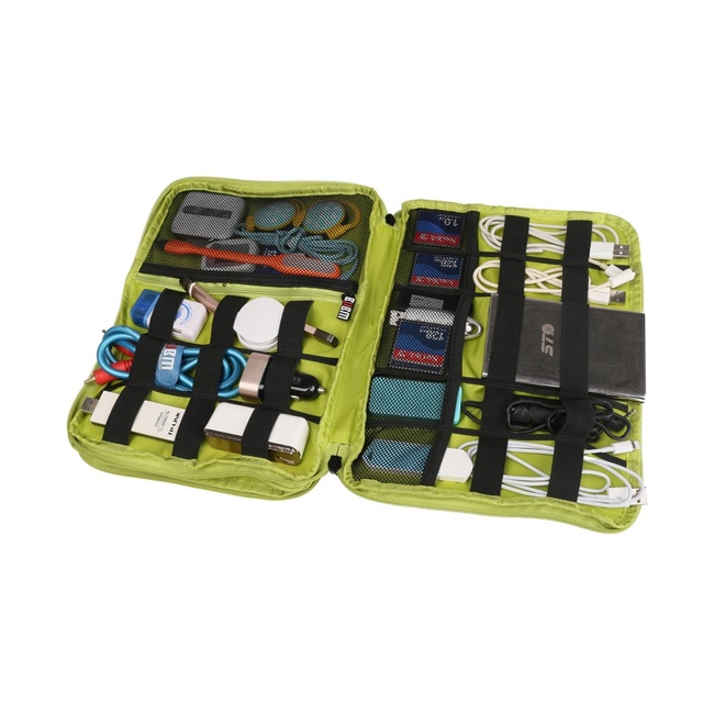 BUBM Universal Double Layer Travel Gear Organizer / Electronics Accessories Bag / Battery Charger Case Grey /Pink/Blue 2