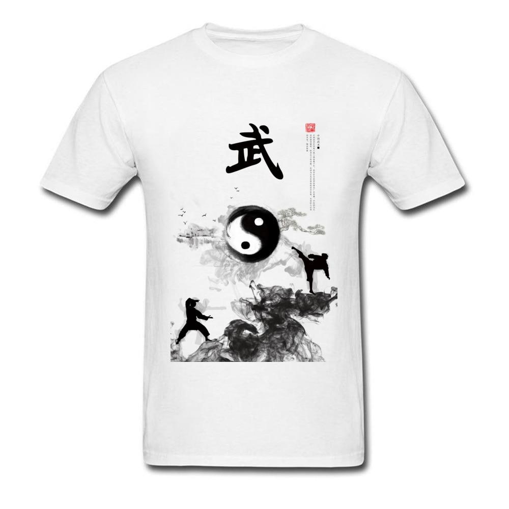 Yin Yang кунг фу китайская традиционная водяная краска, мужская белая футболка с коротким рукавом, хлопковая футболка, уникальный дизайн|Футболки| | АлиЭкспресс