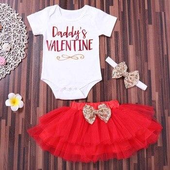 Puseky mode 3 pièces nouveau-né infantile bébé fille lettre barboteuse hauts + jupe tutu + bandeau saint-valentin tenue ensemble papa saint-valentin