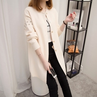 Spring 2018 new Korean version of the long sleeved loose knit cardigan coat sweater female spring tide