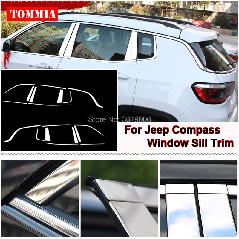 tommia For Jeep Compass 2017 Stainless Steel Chrome Window Sill Belt Trim Windows Molding Trim Car Styling