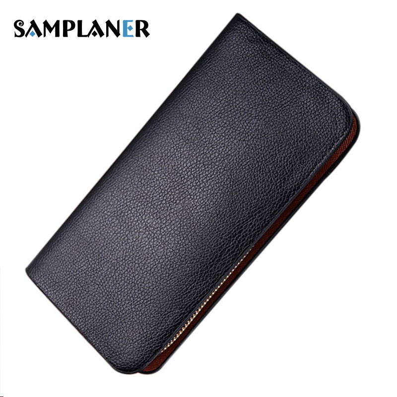 Samplaner Brand Men Wallets PU Leather Wallet Long Design Male Clutch Wallet Large Capacity Card Holder Purse Black Purses Cheap double zipper men clutch bags high quality pu leather wallet man new brand wallets male long wallets purses carteira masculina