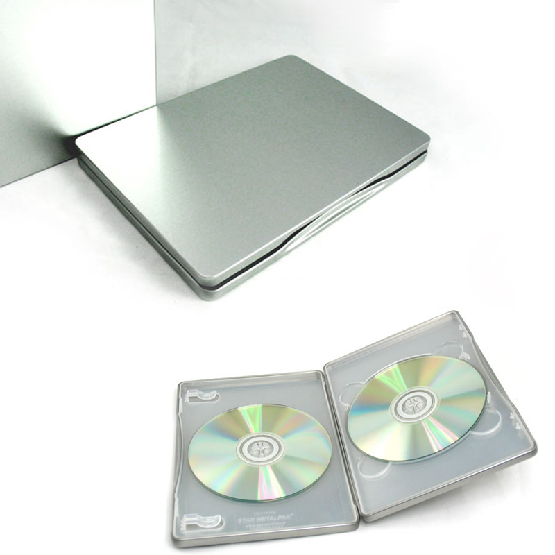silver metal bland diy storage case tin box muji double cdvcddvd two