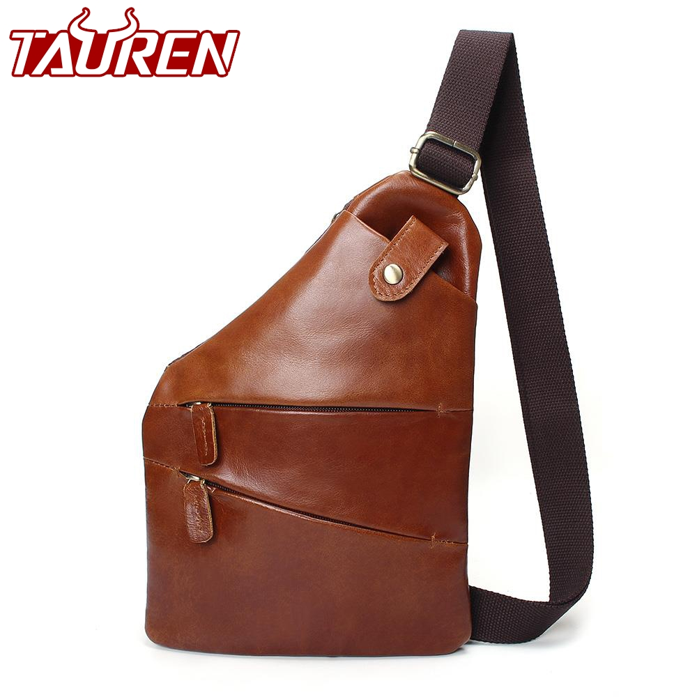 Men Genuine Leather Sling Casual Bag Messenger Anti Theft Oblique Cross Chest Bag Pack Single Shoulder Pack With Magnetic Buckle men s genuine leather belt buckle back pack shoulder messenger unbalance sling chest bag