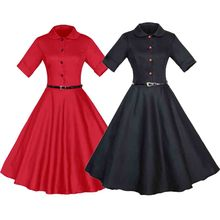 50s 60s Vintage O-neck Button Swing Dress Short Sleeve Party Women Dress Hepburn Style Dresses