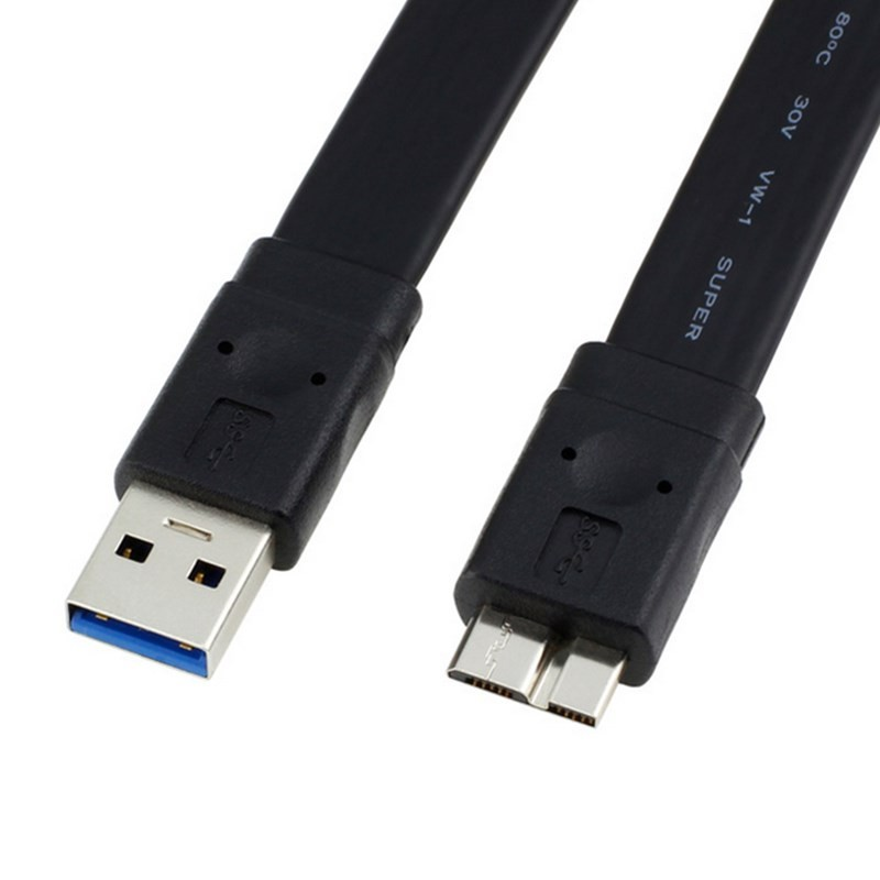 1.5M 3.0m USB 3.0 Cable A Male to Micro B Male data Cable for Computer external harddisk hard drive HDD Flat Cable