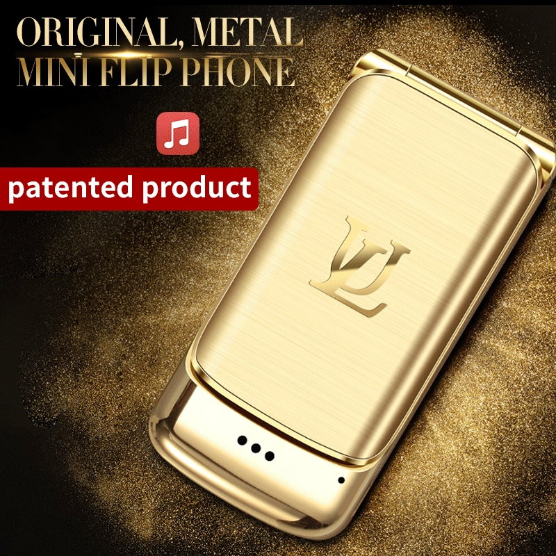 V9 métal Mini hommes affaires Flip Mobile Double carte carte petit téléphone personnalité Ultra-mince poche réserve