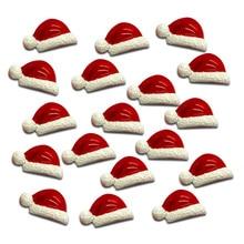 LF 20Pcs Christmas Hats Resin Decoration Crafts Flatback Cabochon Embellishments For Scrapbooking Kawaii Cute Diy Accessories