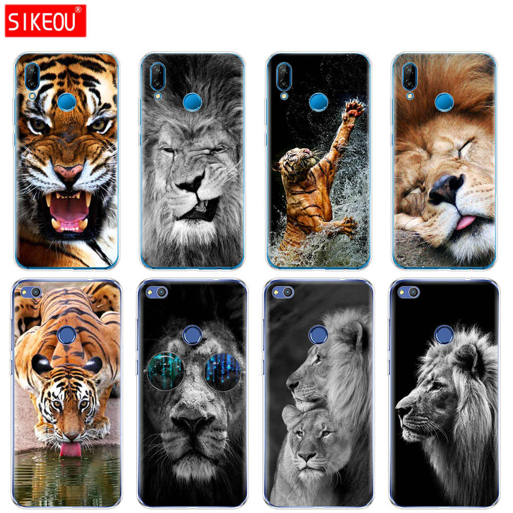Silicon Cover Phone Case For Huawei P20 P7 P8 P9 P10 Lite Plus Pro 2017 P Smart Lion tiger Fashion Lovely Animal