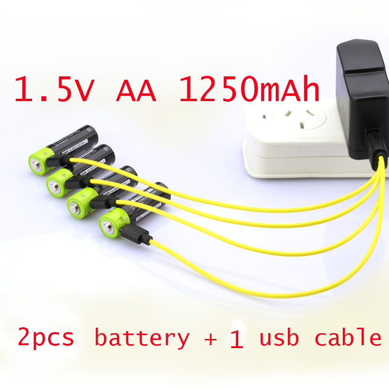 60%OFF 2PCS <font><b>1.5V</b></font> <font><b>AA</b></font> <font><b>rechargeable</b></font> <font><b>battery</b></font> Lipo <font><b>lithium</b></font> polymer ZNTER cell 1250mAh + 1pcs USB cable cell for camera toys image