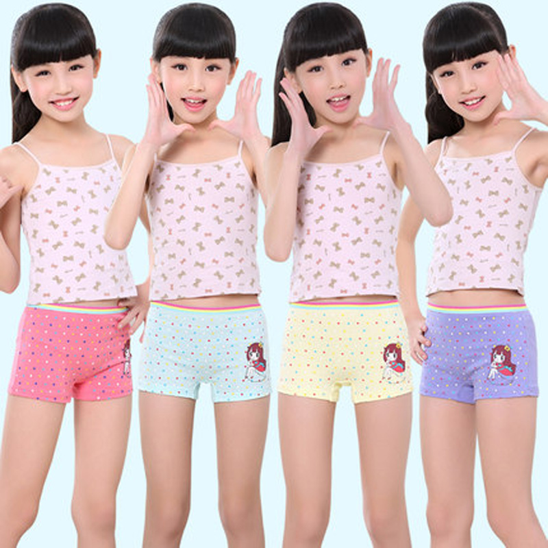 Fashion Girls Underwear Cotton Panties For Girl High Quality Cartoon Boxer Kids Briefs For Girls Children Underpants 4pcs/pack