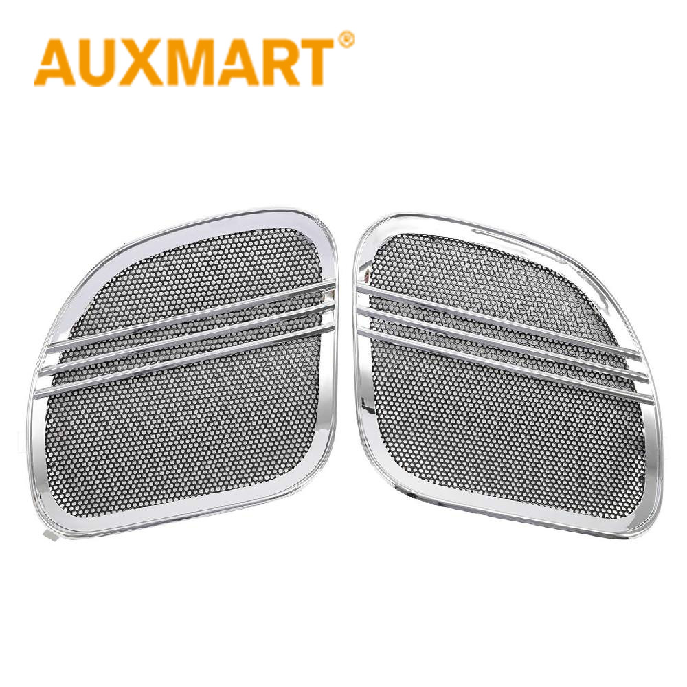 Auxmart Motorcycle Parts Chrome Tri Line Speaker Grills Covers Accents for Harley Road Glide 2015 2016 2017