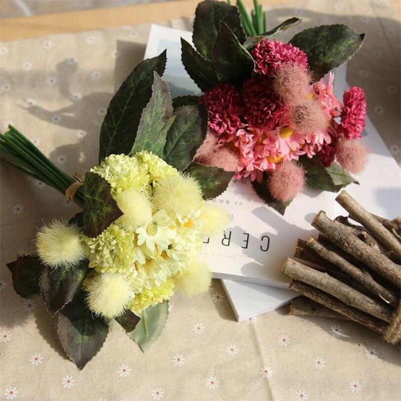 Flone Artificial Hydrangea Flowers Bouquet Emulation Pompom Flower Wedding Bridal Hand Holding Flowers Home Party Decor Art