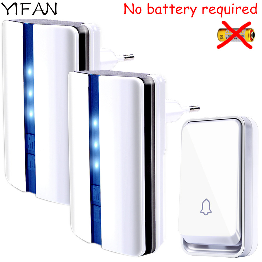 YIFAN New Wireless Door bell Waterproof self powered with no battery EU Plug smart DoorBell 1 button 2 receiver Deaf 110v 220v door bell with 36 chimes single receiver waterproof plug in type wireless doorbell cordless smart door bells doorbells