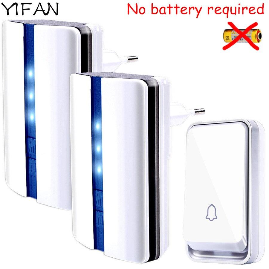 YIFAN Nouveau Sans Fil sonnette De La Porte Étanche auto alimenté par aucune batterie UE Plug intelligent Sonnette 1 bouton 2 récepteur Sourds 110 v 220 v