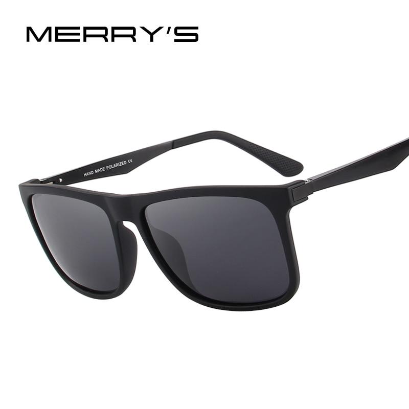 MERRY'S DESIGN Men Polarized Square Sunglasses Fashion Male Eyewear Aviation Aluminum Legs 100% UV Protection S'8250