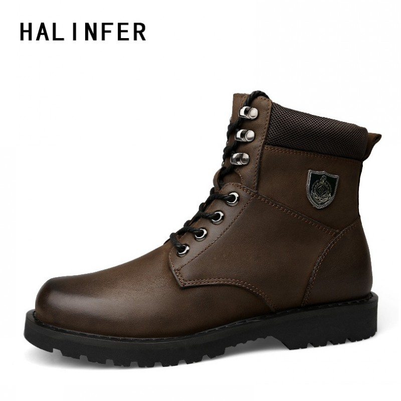 HALINFER men Work boots genuine leather round toe fashion sewing Martin Boots ankle boots