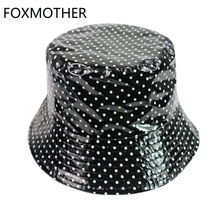 FOXMOTHER New Black White Polka Dot Print Fisherman Caps Bucket Hats Women Ladies