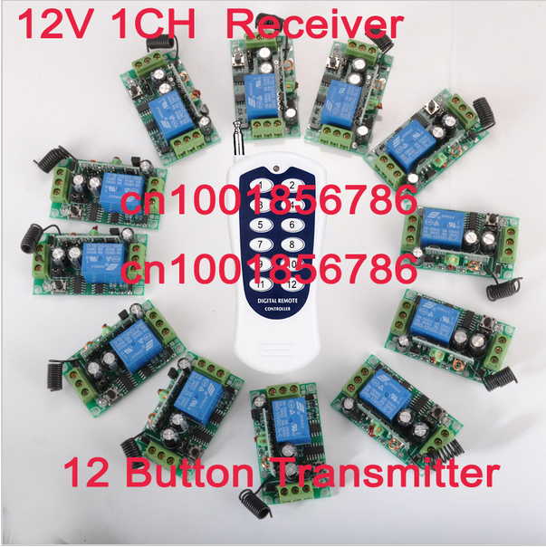 12CH Power Switch RF Wireless Remote Control Switch System transmitter +12 receiver(switch)12V 10A Output State is Adjustable 12v 8ch power switch rf wireless remote control system transmitter