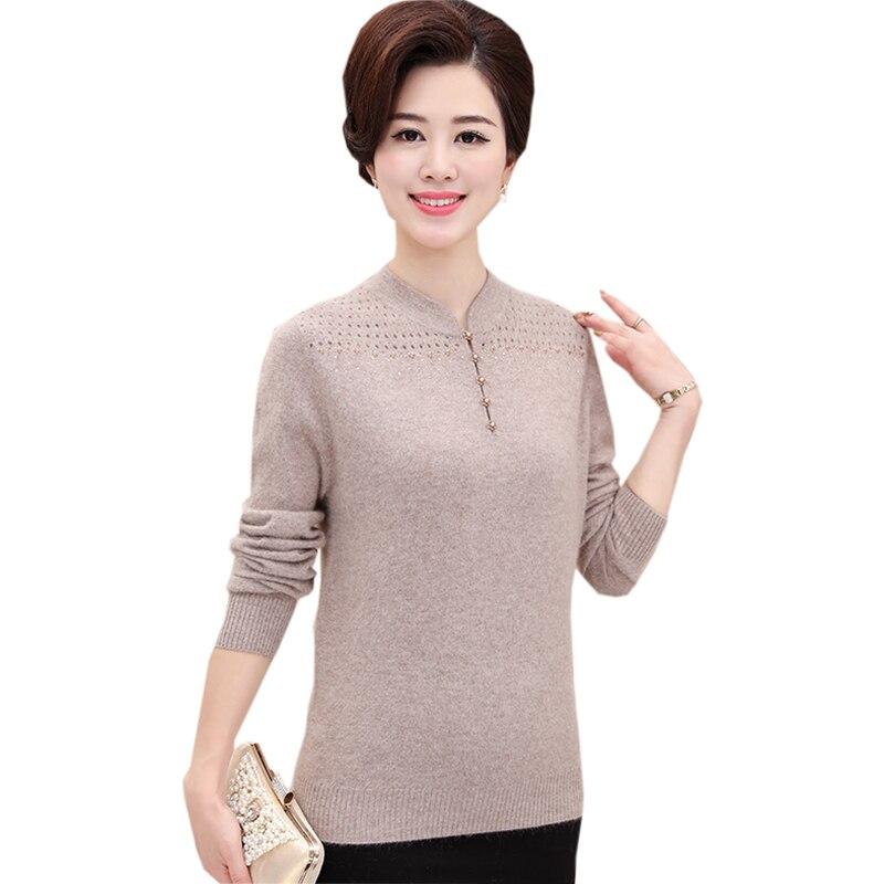 100% chemises en laine chandails d'âge moyen automne hiver tricoté col en v tricoté bas dessus de chemise femmes pulls en cachemire FP1641