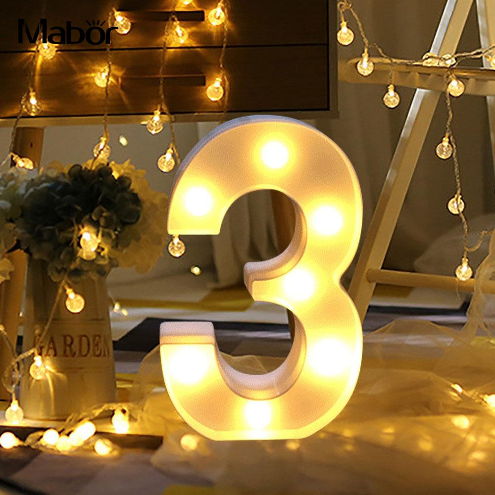 Energy Saving LED Digits Decorative Lights Party Supply Xmas Battery Operated 1W 20LM Eco-Friendly Bright Warm White PC