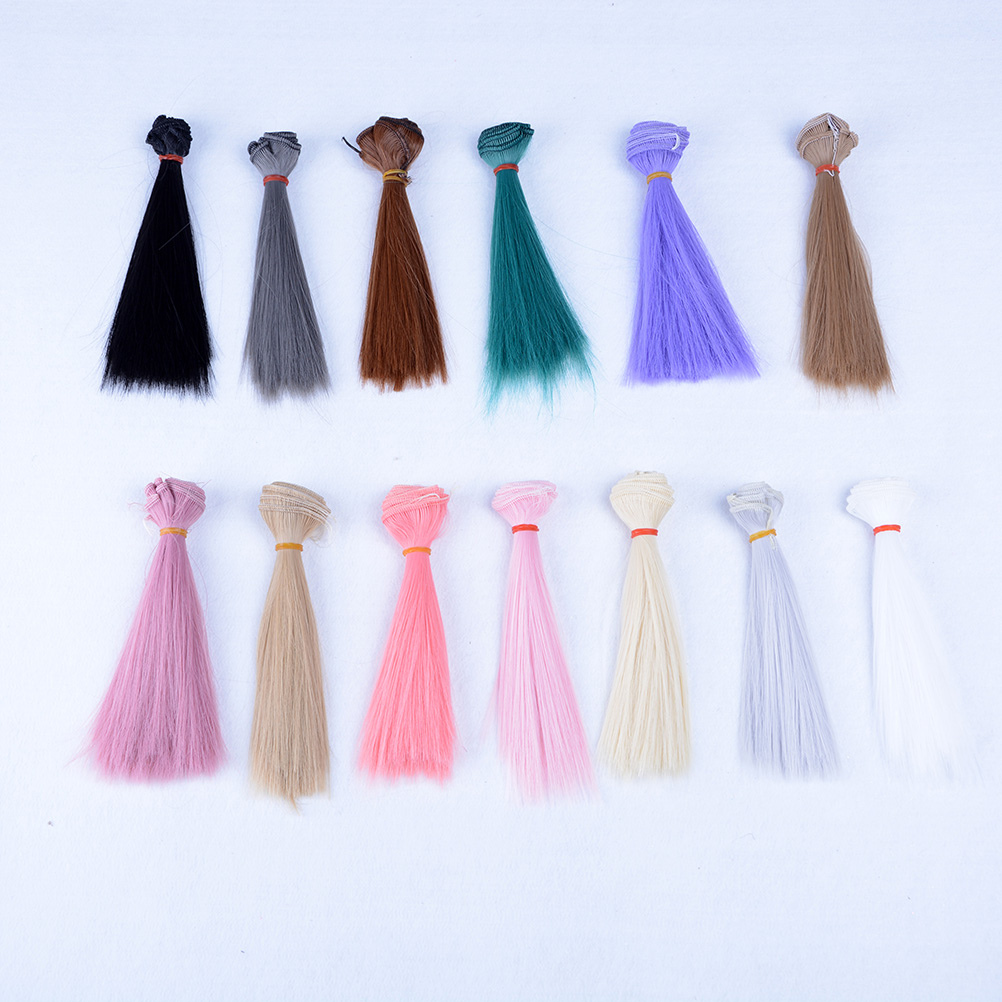 1Pc DIY Doll High-temperature Wire Long Straight Hair Wig 1/3 1/4 1/6 BJD Hair black pink brown khaki white grey color 15x100cm