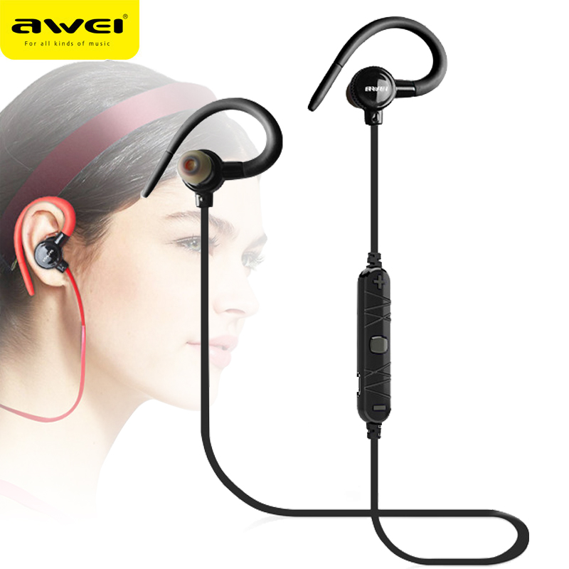 AWEI A620BL In-Ear Wireless Headphones Bluetooth Earphones For Phone With Microphone fone de ouvido ecouteur Ear hook Headset original awei es q3 headset noise isolation bests sound in ear style hifi earphones for phone mp3 mp4 players 3 5mm jack
