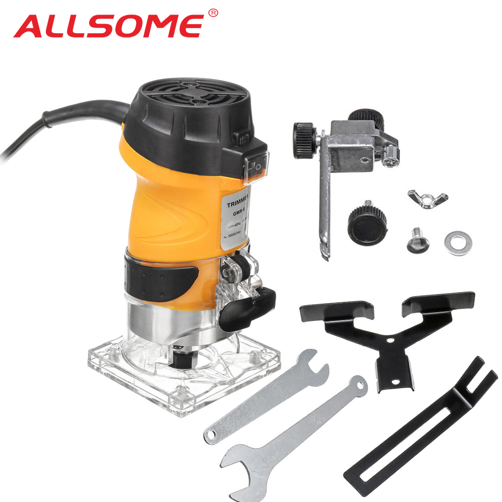 ALLSOME 6.35mm Electric Laminate Edge Trimmer Mini Wood Router Carving Machine Carpentry Woodworking Power Tools