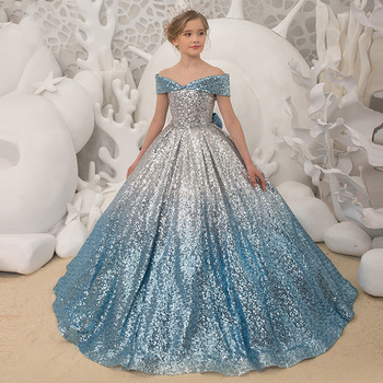New style party Flower Girl Wedding Banquet shoulder dress girl birthday party dance performance walk-show dress