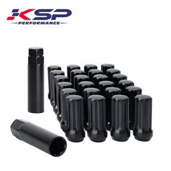 Juego KSP de 24 piezas negro o cromado 14x1,5 extremo cerrado dúplex XL tuercas esféricas con 2 llaves para CHEVY GMC plateado HUMMER
