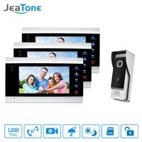 JeaTone 7 Inch Video Door Phone Intercom IP65 Waterproof Quality 3 Indoor Monitors 1 1200TVL Outdoor