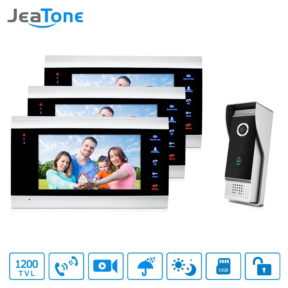 JeaTone 7 pouce Vidéo Porte Téléphone Interphone IP65 Étanche Qualité 3 Moniteurs D'intérieur + 1 1200TVL Caméra extérieure Accueil Système