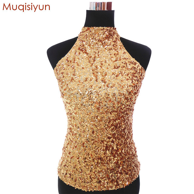 8068d2c9a3a7d Muqisiyun Sexy Night Club DJ Stage Costumes Halter Neck Sequin Party Tops  Women Shimmer Flashy Sleeveless