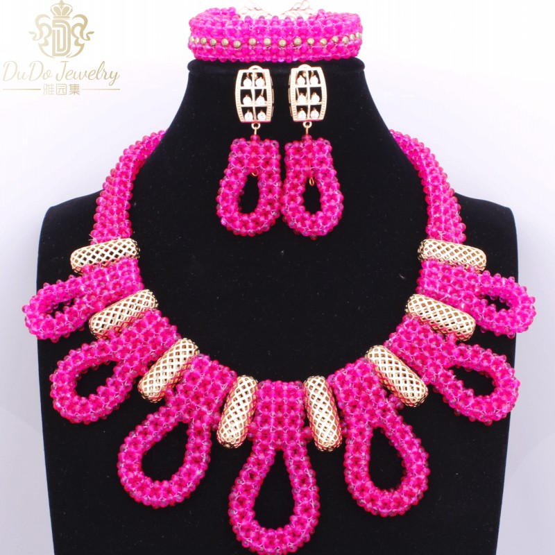 Luxury Nigerian Beads Necklace Hot Pink Dubai Christmas Costume Wedding Jewelry Sets Cute Indian Jewelry Accessories 2017Luxury Nigerian Beads Necklace Hot Pink Dubai Christmas Costume Wedding Jewelry Sets Cute Indian Jewelry Accessories 2017