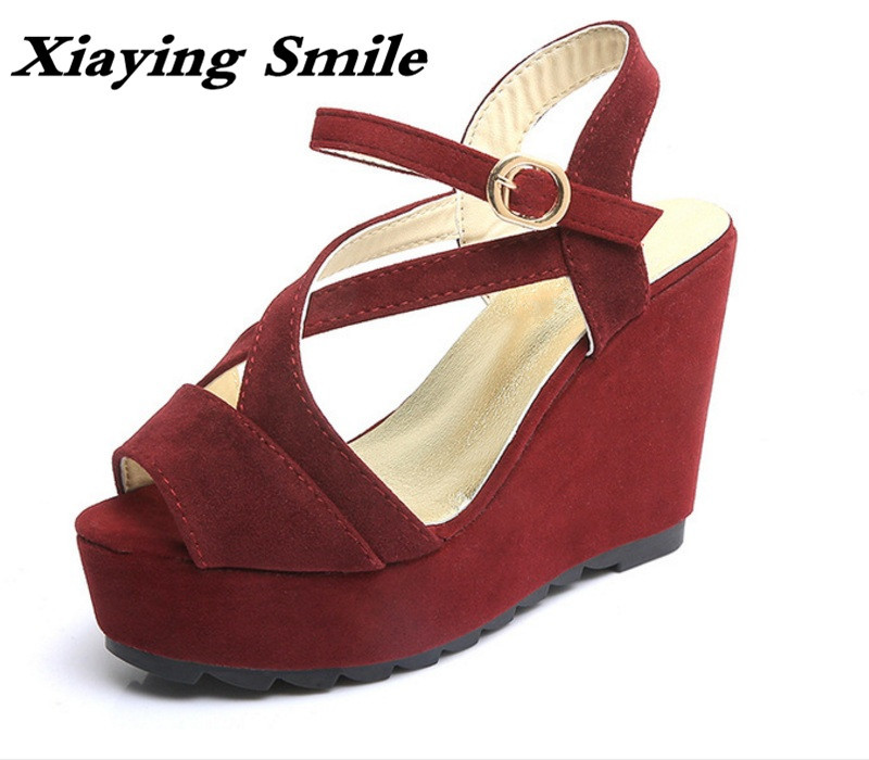 Xiaying Smile Summer New Woman Sandals Platform Wedges Women Pumps High Heel Buckle Strap Fashion Flock Lady Rubber Women Shoes xiaying smile summer woman sandals square cover heel woman pumps buckle strap fashion casual flower flock student women shoes