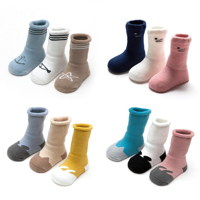 2018 Baby Socks Autumn Winter Children Socks 3Pcs/lots Pure Cotton Baby Girl Boy Socks Warm Socks For Newborn Kids Baby Stuff