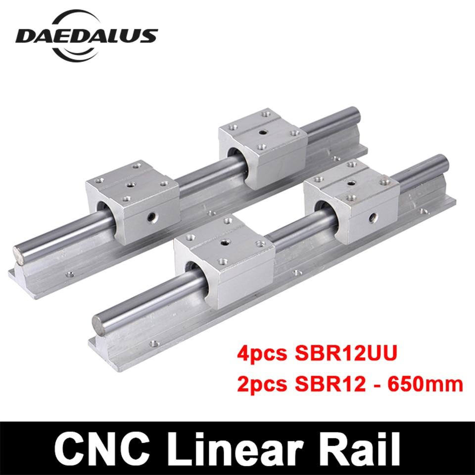 2pcs SBR12 650mm Linear Rail CNC Linear Guide + 4pcs SBR12UU Linear Slide Motion Ball Bearing Blocks Linear Slide Shaft цены