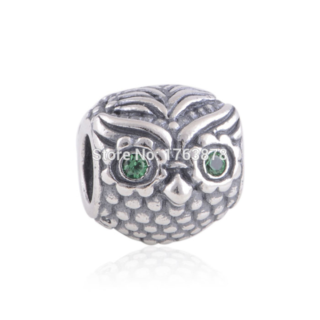 1033c1dc0 Wise Owl Charm Fits Pandora Charms Bracelet&Necklaces 925 Sterling Silver  Beads With Dark Green CZ Eyes DIY Jewelry Wholesale