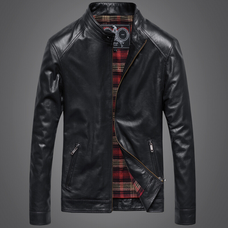 2015 Men Leather font b Jacket b font Sheepskin Genuine Leather Motorcycle font b Jacket b