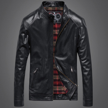 2015 Men Leather Jacket Sheepskin Genuine Leather Motorcycle Jacket Men's Spring Autumn Winter Slim Short Genuine Leather Coat