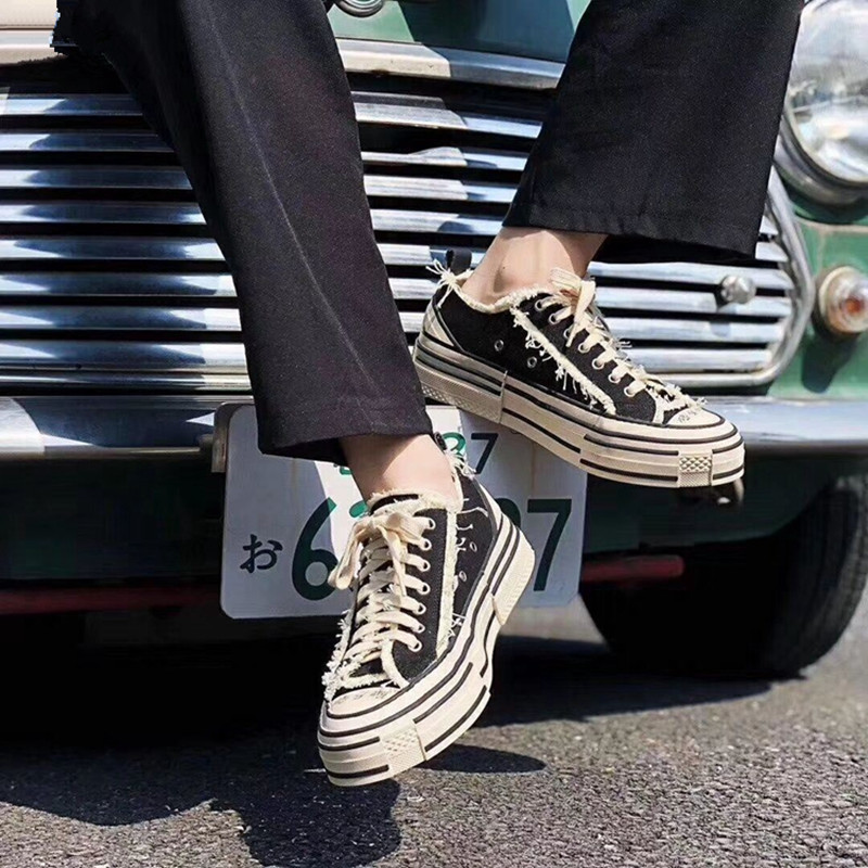 Prova Perfetto Lovers Canvas Shoe Candy Color Platform Tassels Lace up Sneakers Women Casual Solid Thick Bottoms Ladies Sneakers