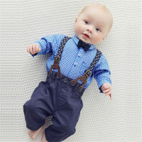 Fashion New Baby Boy Plaid Shirt And Straps Jeans Overall Brand Design Gentleman Children Boy Clothes